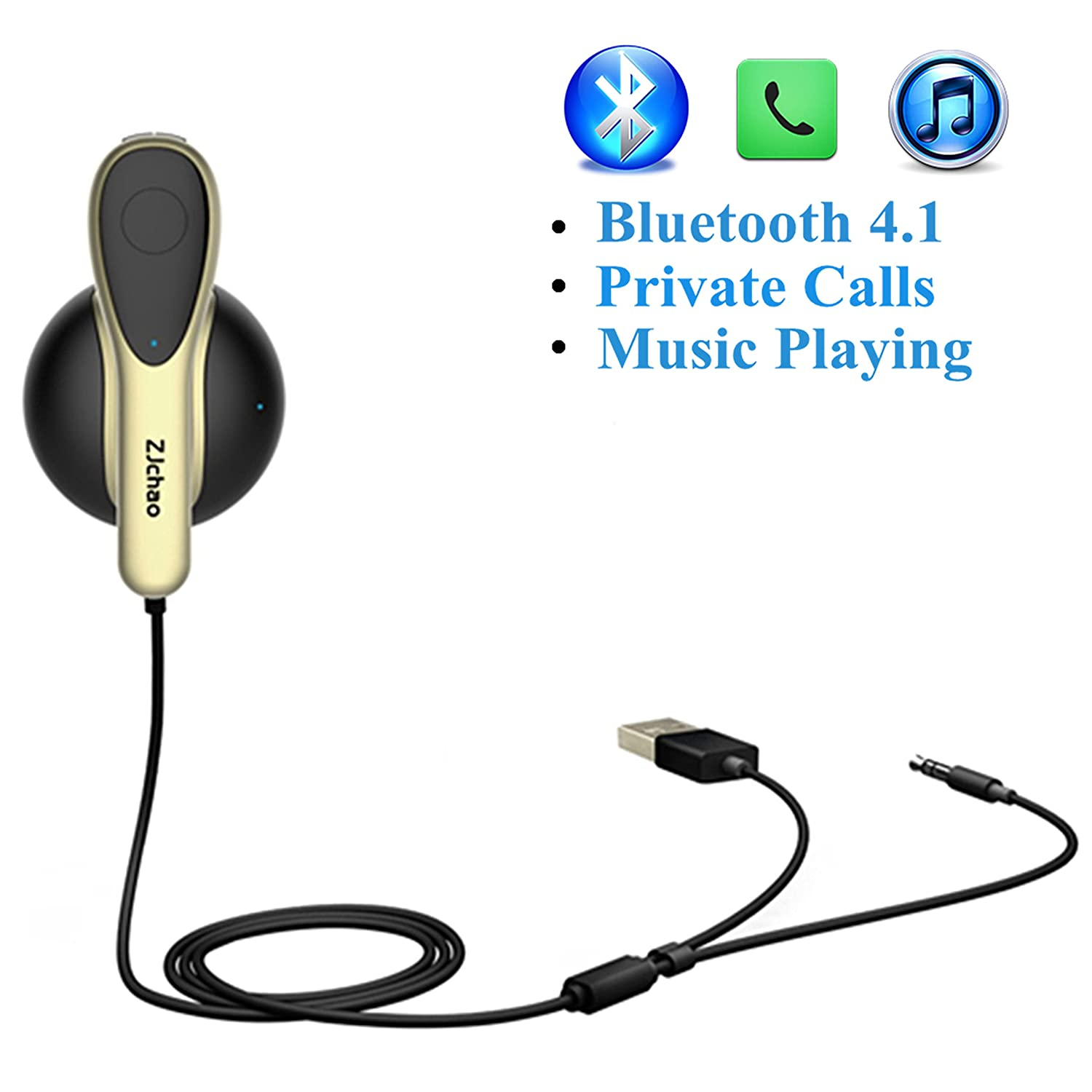 Wireless Bluetooth Headset for Car Hands Free Driving Coming with Magnetic Charging Dock 3.5mm Aux Input Jack and USB Charging Cord