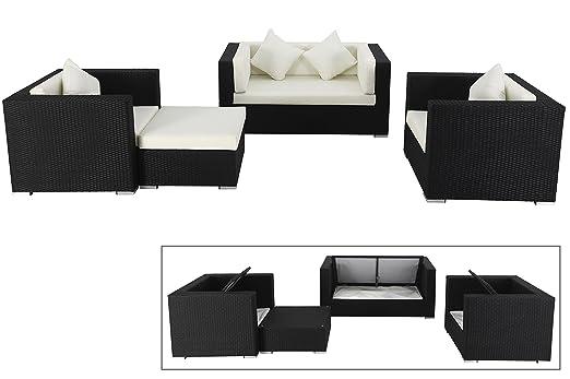 OUTFLEXX exklusives Lounge-Set aus hochwertigem Poly-Rattan in schwarz, 2-Sitzersofa, 2 Sessel, 1 Hocker, inkl. bequeme Kissenpolster, fur 5 Personen, Kissenboxfunktion Stauraum, wetterfest, zeitlos
