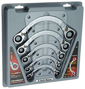 GEARWRENCH 5 Pc. 12 Point Reversible Half Moon Double Box Ratcheting Metric Wrench Set - 9850 (Color: Chrome)