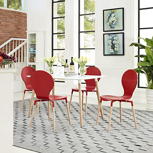 Path Dining Chairs and Table Set of 5, Red