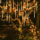OMGAI 50CM 12 Tubes 576 LED Meteor Shower Rain Lights - Waterproof Drop Icicle Snow Falling Raindrop Cascading Lights for Garden Wedding Party Christmas Shine WarmWhite (Color: WarmWhite, Tamaño: 50CM)