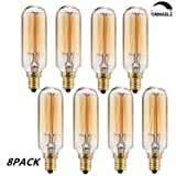 T25/T28 Candelabra Vintage Bulbs,Incandescent Filament Light Bulb,T20 E12 Candelabra Base(40W),Hand-Wound Tungsten Thread Filament ,Dimmable, 8Pack