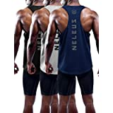 Neleus Men's 3 Pack Dry Fit Muscle Tank Workout Gym Shirt,5031,Black,Navy,Grey,L,Tag XL