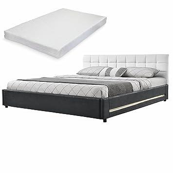 [My.Bed] Elegante LED cama tapizada acolchada + colchón de espuma fría - 140x200cm - (cabecero: cuero sintético blanco - Patas y parte lateral: imitación ante gris oscuro) - cama / cama de matrimonio / armazón de cama, i