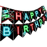 Laser Tag Happy Birthday Banner Pennant - Laser Tag Party Supplies - Laser Tag Decorations - Brights Banner (Color: Red, Aqua, Green, Black)