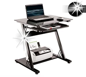 SixBros. Computer Desk CT 3312D/1131 Glass High Gloss Black       Customer review and more info