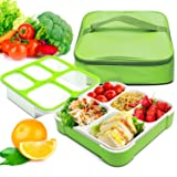Bento Box, Fun life lunch box, Eco-Friendly, BPA Free, 5 Separated Compartments,Leakproof Container & Airtight Lid, For Healthy, Dry & Liquid Food, Portion Control, Meal Prep, Adults & Kids (Color: Green, Tamaño: 5-compartment)
