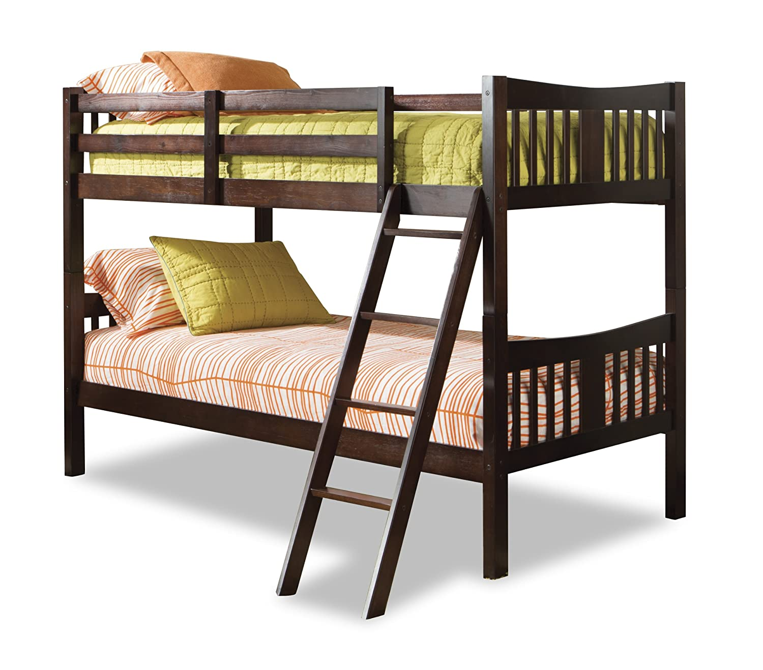 Twin bunk beds espresso wood loft kids bedroom furniture for Furniture 123 bunk beds
