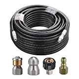 M MINGLE Sewer Jetter Kit for Pressure Washer, 1/4 Inch NPT, 100 Feet Hose, Button Nose and Rotating Sewer Jetting Nozzle, Orifice 4.0, 4.5, 4000 PSI