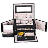 Kendal Large Leather Jewelry Box / Case / Storage / Organizer With Travel Case and Lock (Black) (Color: Black)