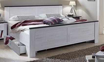 Wimex 980297 Bett mit Schubkästen 180 x 200 cm, höhenverstellbar, weißeiche Nachbildung, Absetzung lavafarbig