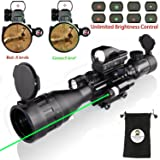 XOPin Hunting AR15 Tactical Rifle Scope Combo C4-16x50EG with Green Laser and 4 Holographic Red&Green Dot Sight (12 Month Warranty) for 22&11mm Weaver/Picatinny Rail Mount (Color: New Updated Scope and 104 Red Dot)