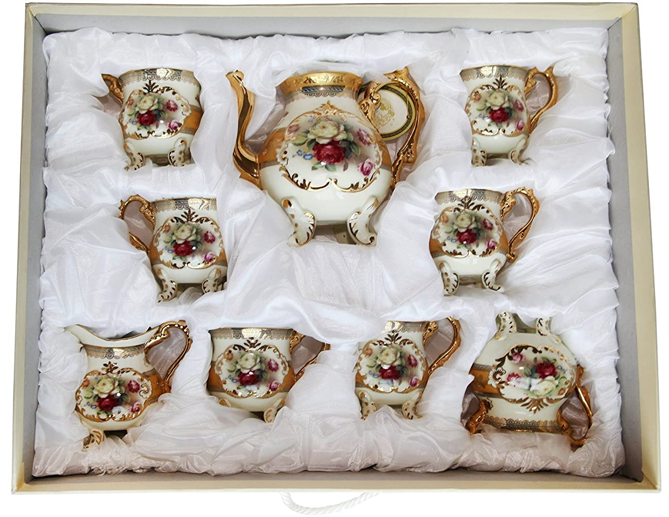 Royal Porcelain 10-Piece Vintage Rose-Decorated Dining Tea Cup Set, Service for 6, Handmade & Hand-Painted, 24K Gold-Plated Bone China Tableware 5