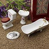 Miniature Bathroom Set Bathtub Toilet Sink Mirror Dollhouse Accs#5 4pcs 1:12