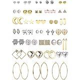 Jstyle 32 Pairs Assorted Multiple Stud Earrings for Women Girls Simple Cute Big Hoop Earrings Set (Color: A:32pairs)