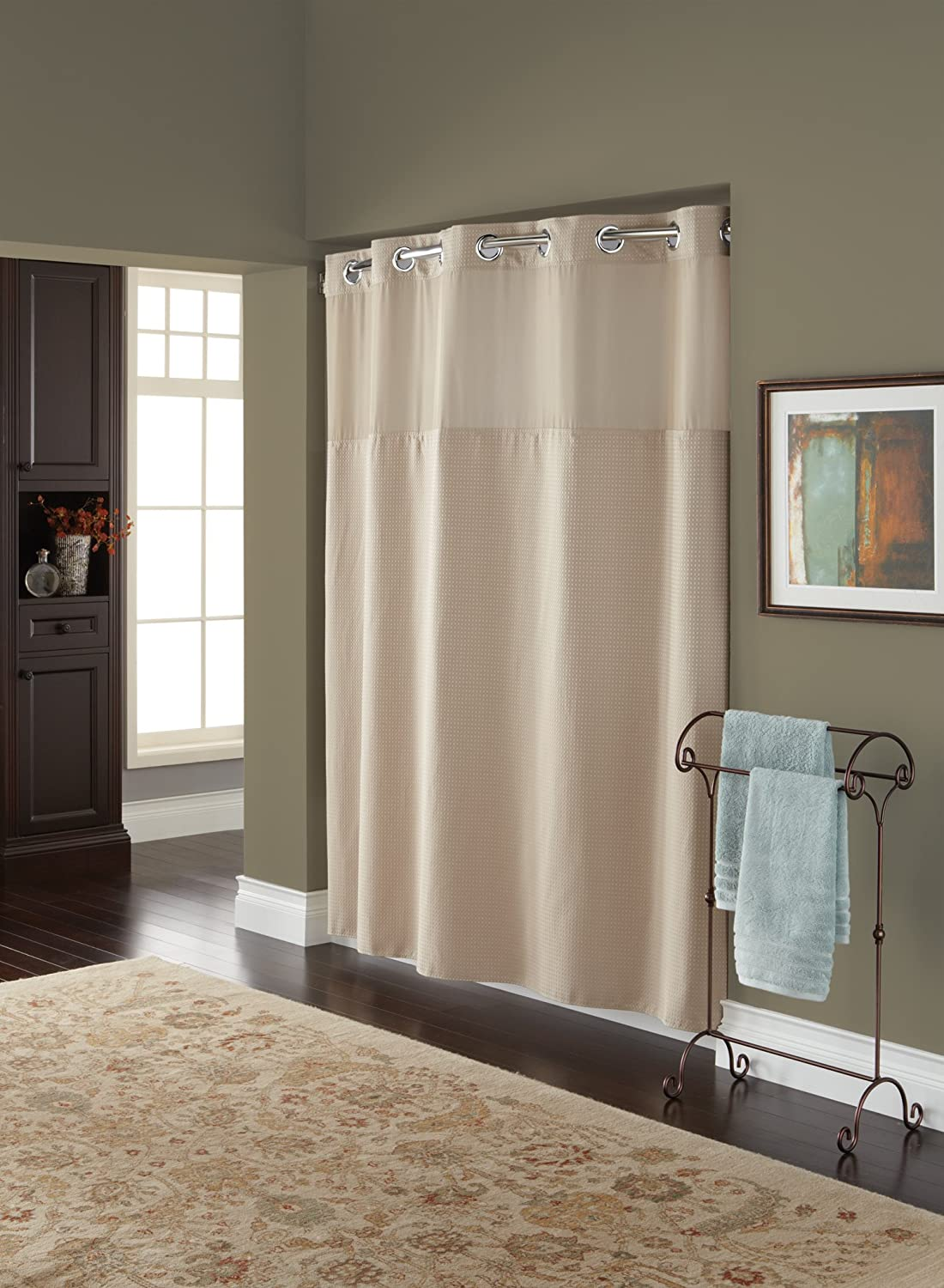 Hookless Fabric Shower Curtain with Built in Liner Taupe Diamond Pique ...