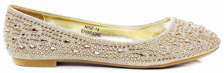 Anna Womens Nine14 Sparkle Raindrop Rhinestone Glitter Mesh Loafer Ballet Flat Dress Shoes