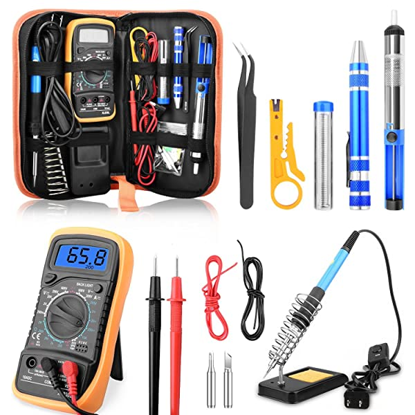 ETEPON Digital Multimeter True RMS 6000 Auto Raging Voltage Tester,Measures Voltage,Current, Resistance,Continuity,Frequency,Temperature, incl Diodes,Transistors (soldering iron with multimeter)