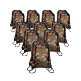 20 Pieces Drawstring Backpack Sport Bags Cinch Tote Bags for Traveling and Storage (Camouflage, Size 1) (Color: Camouflage, Tamaño: Size 1)