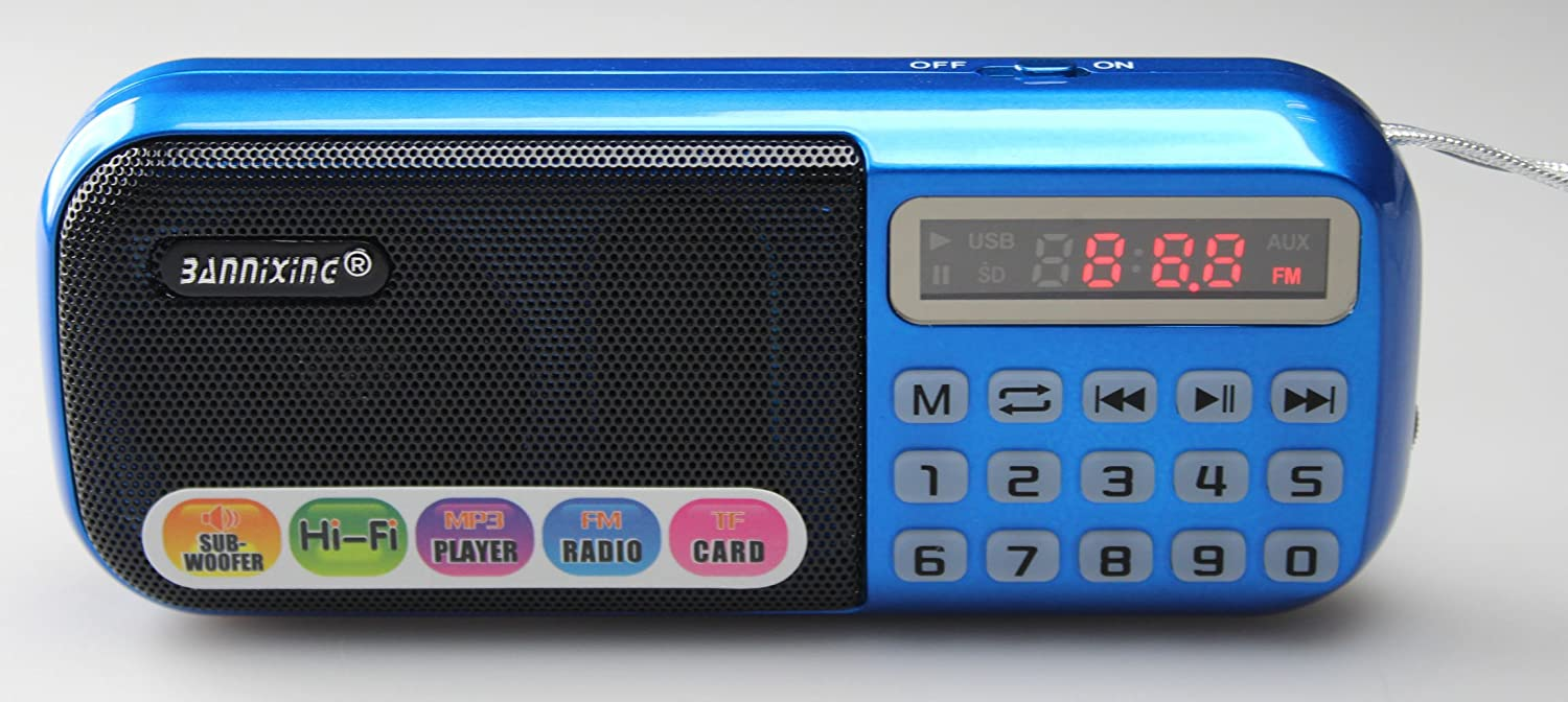 BNX® Portable MP3 Player Speaker with FM Radio USB Micro SD Input and LED Working Status Display Great Radio Speaker for your gift. high power loudspeaker voice amplifier bluetooth portable led light sound box speaker with microphone radio usb mp3 music player