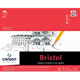 Canson Foundation Series Bristol Paper Pad, Heavyweight Paper for Pencil, Vellum Finish, Fold Over, 100 Pound, 19 x 24 Inch, Bright White, 15 Sheets (Color: 0, Tamaño: 19