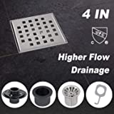Modbath 4 Inch Square Shower Drain with PVC Base Flange, Floor Drain with Removable Quadrate Pattern Cover for Bathroom, Brushed 304 Stainless Steel, Includes Hair Strainer, Threaded Adapter (Color: Stainless-Steel, Tamaño: 4IN)