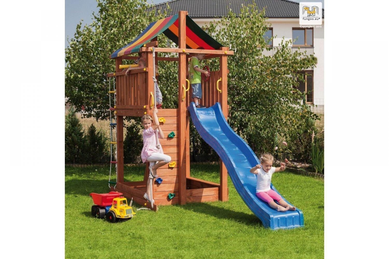 Fungoo ® Paradise Spielturm mit Rutsche Farbe blaue Rutsche online kaufen