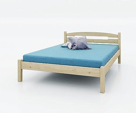AI SEN Kiefer-Massivholz-Bett Valea 3, 140x200 cm, natur lackiert