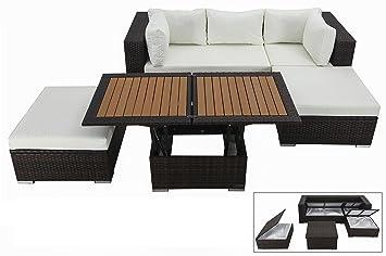 OUTFLEXX kompaktes Lounge Sofaset inkl. Hocker inkl. höhenverstellbarer Loungetisch, aus hochwertigem Polyrattan in weiß fur 6 Personen, inkl. Polster und Boxfunktion, wetterfest