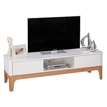 Wohnling TV Lowboard MDF mit Eschefurnier, Holz, weiß, 150 x 45 x 45 cm
