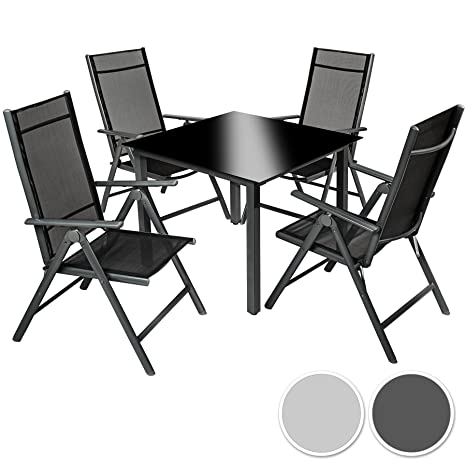 TecTake Aluminium 4+1 salon de jardin ensemble sièges meubles chaise table en verre - diverses couleurs au choix - (gris foncé | no. 402168)