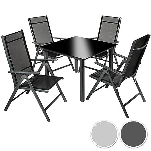 TecTake Alluminio set mobili da giardino 4+1 tavolo sedie pieghevole arredo esterno - disponibile in diversi colori - (grigio scuro | no. 402168)