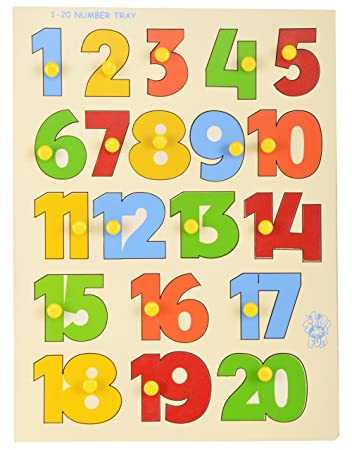 skillofun wooden 1 20 number shape tray with knobs multi color - Color Tray