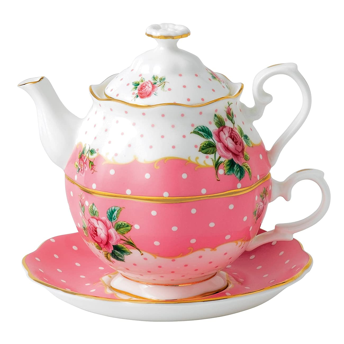 Royal Albert New Country Roses Vintage Single Serving Teapot, Cheeky Pink 0