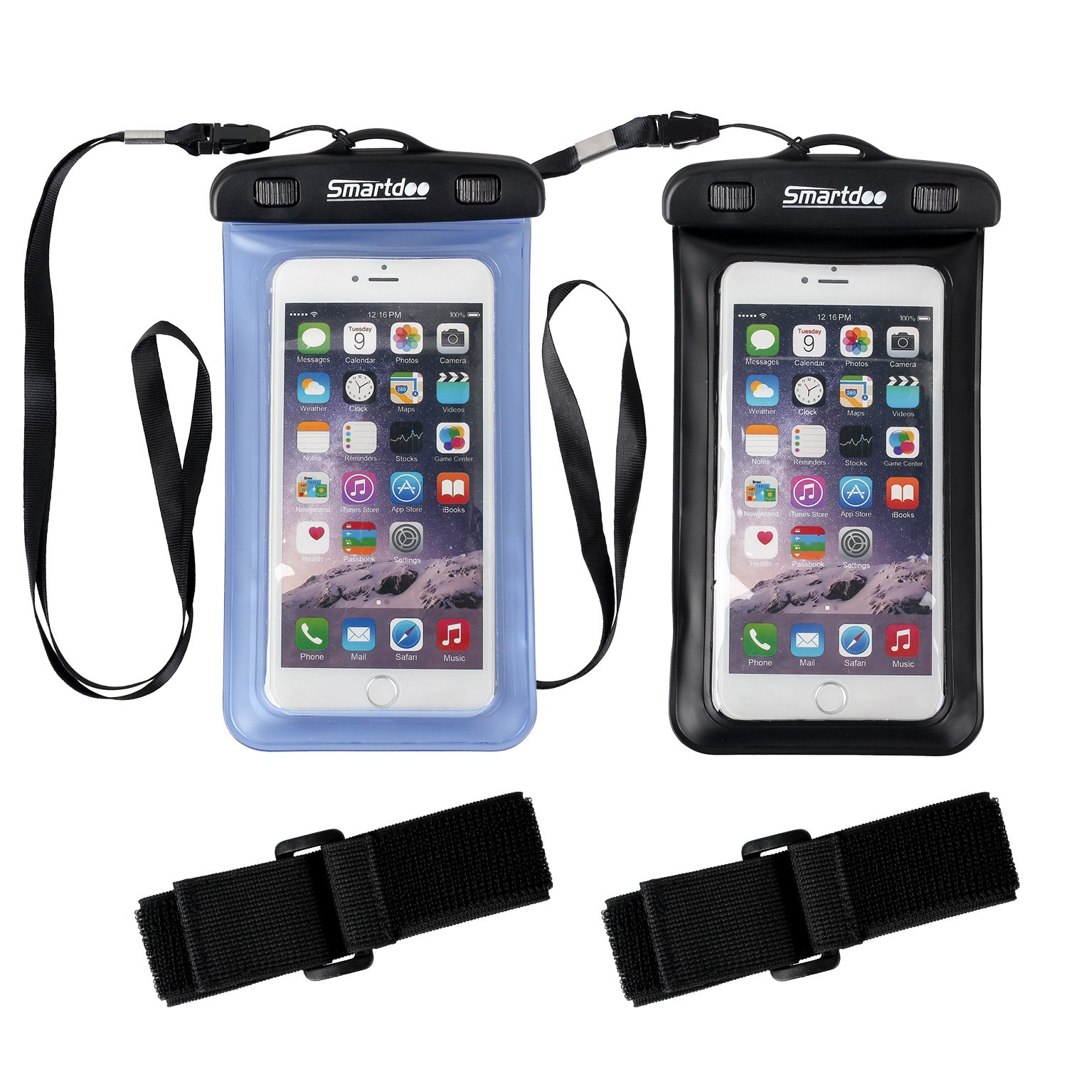 Waterproof Case,2 Pack Smartdoo Waterproof Bag,Best Dry Bag for Apple iPhone 6s, 6 Plus, Samsung Galaxy S6/S6 Edge, Dust Snowproof Pouch,for Men Women Boating/Hiking/Swimming/Diving/Beach(Blue+Black)