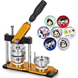 VEVOR Button Maker 1.5inch Rotate Button Maker Yellow Rotate Button Badge Maker Machine with 100 Sets Circle Button Parts for Friends DIY(37mm 100pcs) (Tamaño: 37MM)
