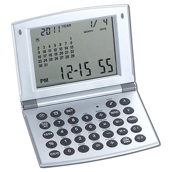 Natico Multifunctional World time Clock, Calendar and Calculator (10-WT208), silver (Color: silver, Tamaño: NO SIZE)