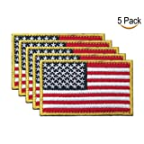 Tactical USA Flag Patches Military American Patch Morale 5 Pieces for The Hats Bags Backpacks and Jackets with The Magic Sticker(Red, Black, Yellow) (Color: Red, Black, Yellow)