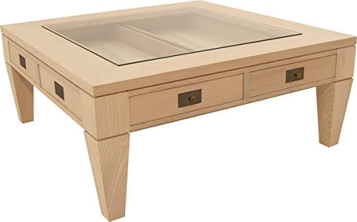 Oak Square Coffee Table 2 Drawers