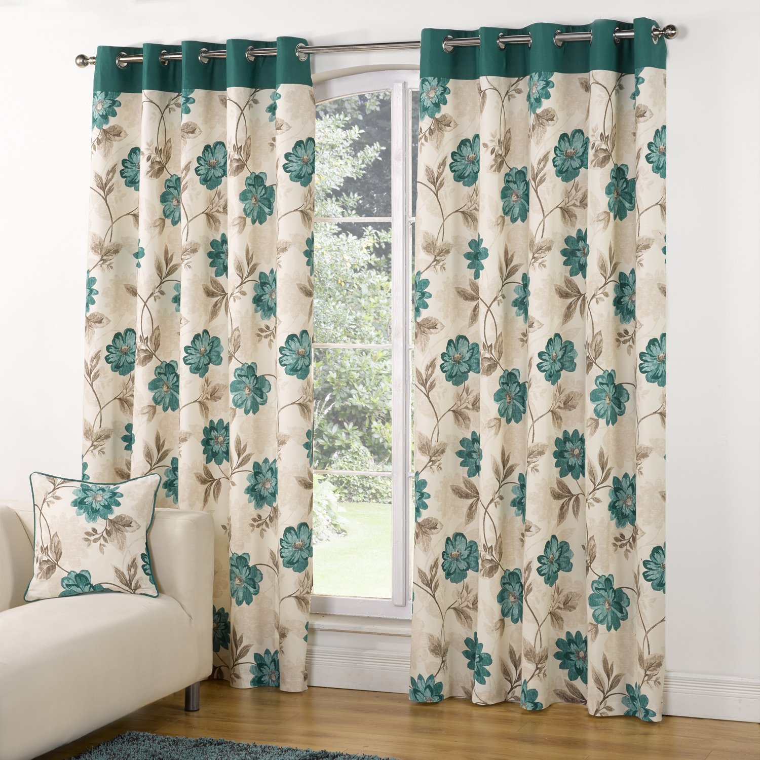 ... GREEN FLORAL TRAIL DESIGN RING EYELET LINED READYMADE CURTAINS | eBay
