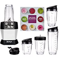 Nutri Ninja Auto iQ Pro Complete Blender with 5 To Go Cups and 4 Lids (Platinum / Red)