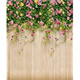 8x10 ft Spring Flower Wooden Wall Backdrop Photography Wedding Floral Plant Photo Background for Booth Studio Romantic Photographic Props