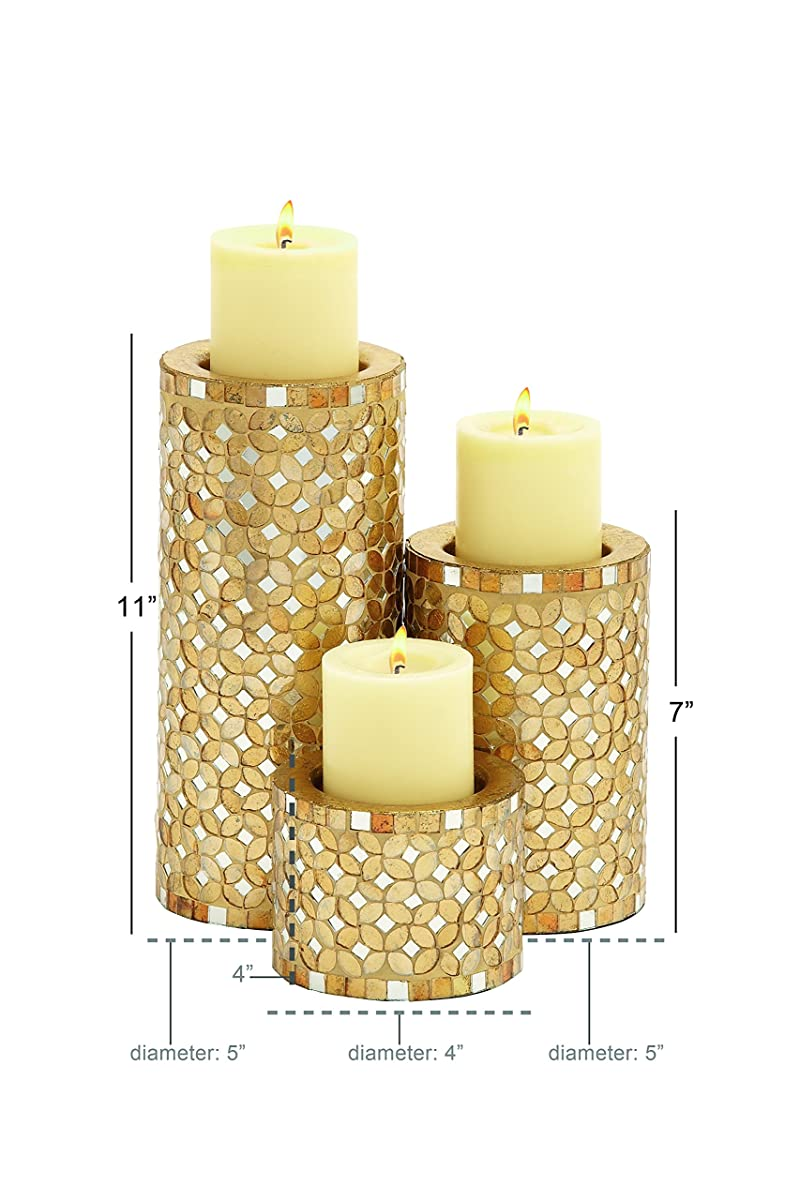 "Deco 79 23897 Metal Mosaic Candle Holder S/3 11"",7"",4""H"