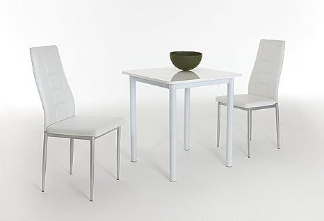 Essgruppe Single, Tisch HGL Weiß Rundrohrgestell Weiß, Stuhl Kunstleder Weiß, Fuße alufarben  70 x 70 x 75cm,  Apollo