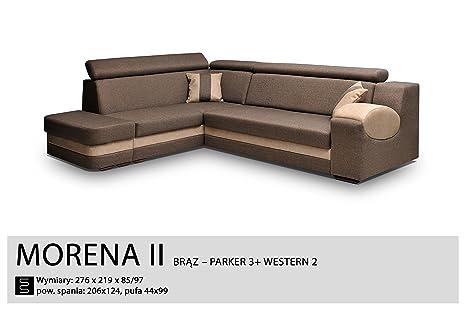 Ecksofa-braun–Sleep Funktion, Bett container- Stoff & Kunstleder–Moraine II, holz Textil Kunstleder, braun, Vier Sitze