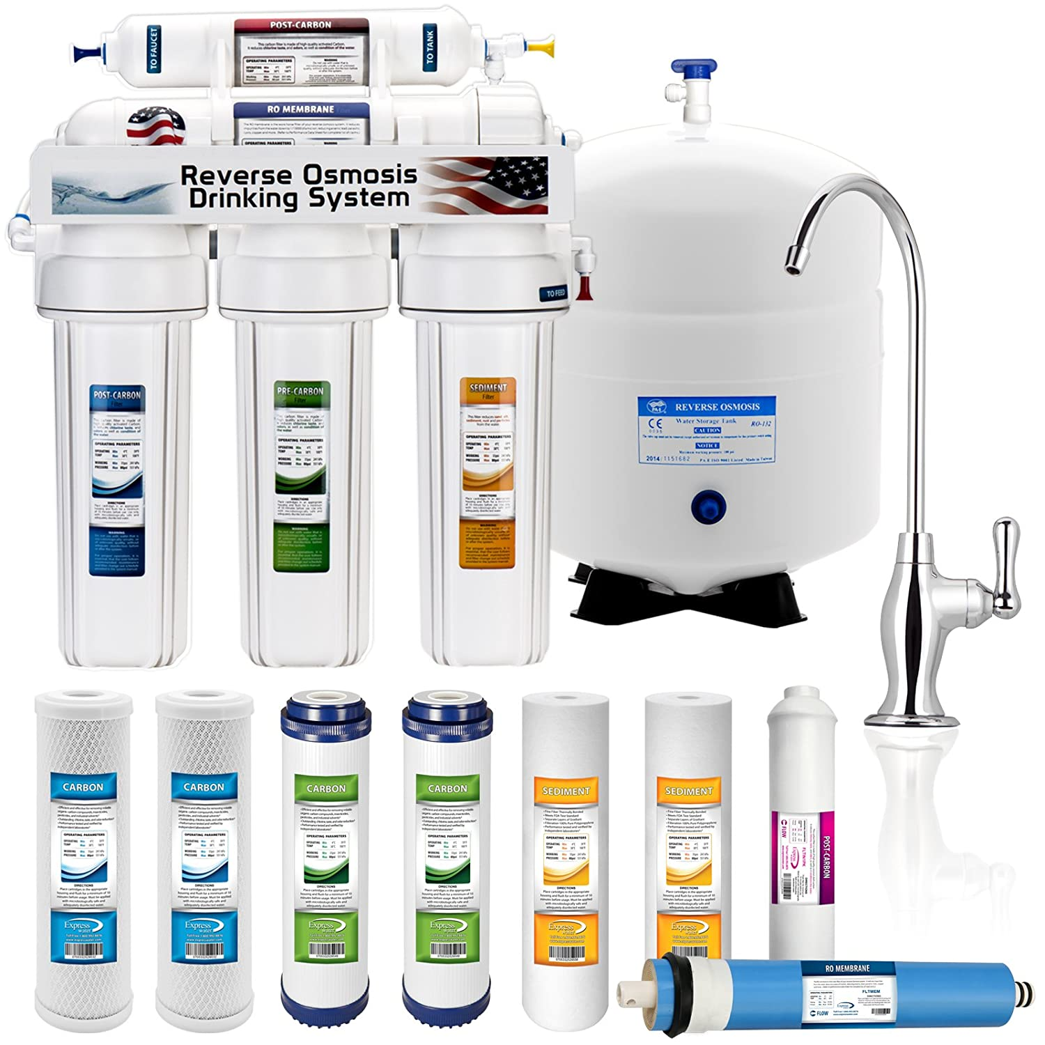 5 Stage Home Drinking Reverse Osmosis System PLUS Extra Full Set – 4 Water Filter