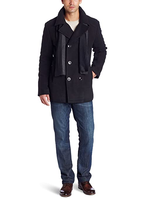 Kenneth Cole Men's Plush Peacoat With Scarf