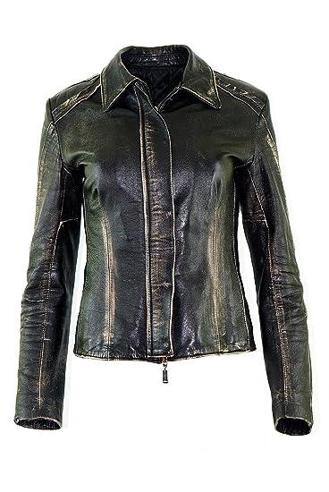 DX Damen Lederjacke, Elegante Lederjacke schwarz KKLD-0001