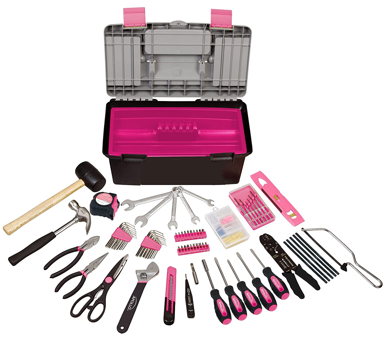 Apollo Tools DT7102P Household Tool Kit with Tool Box, Pink, 170 Piece at Sears.com