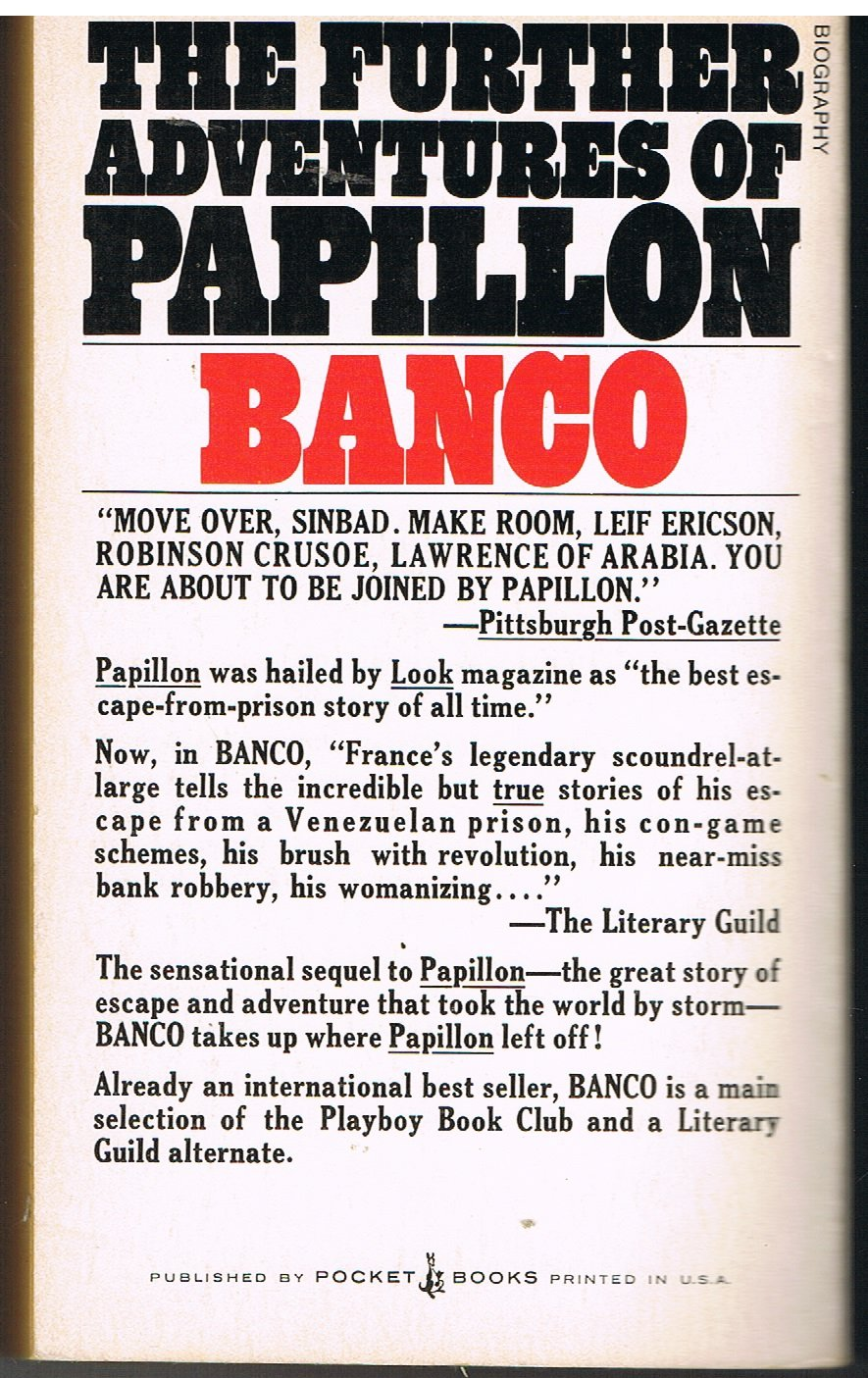 Banco: The Further Adventures of Papillon, Charriere, Henri